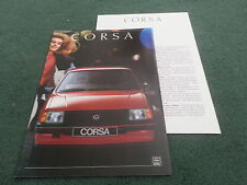 Aug 1988 / 1989 OPEL CORSA inc GSi GERMAN BROCHURE + SPECIFICATION Vauxhall Nova