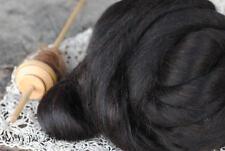 BABY BLACK ALPACA Fiber Roving Combed Top Undyed Luxury Spinning, Felting 4 oz