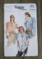 Vintage 80's Vogue Pattern 9916 Sz 20, 22, 24 Ladies Blouse Top