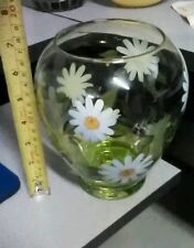 Glass Vase with hand painted flowers