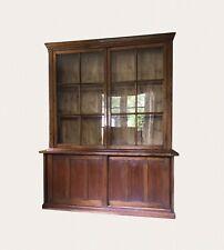 Large Antique Victorian Mahogany Glazed Display China Cabinet Bookcase Dresser