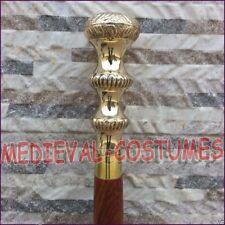 Antique Style Victorian Cane Wooden Walking Stick Vintage Brass Handle ra107