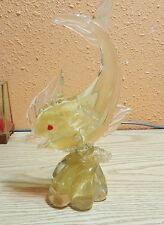 RARE / VINTAGE GOLD MURANO GLASS FISH STATUE -BEAUTIFUL-ONE OF A KIND-1950's