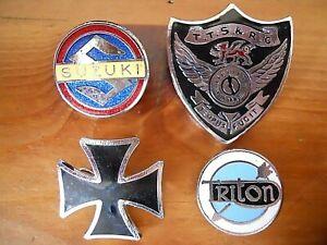 Vintage Motorcycle Enamel Badges Job Lot x 4 Triton-Suzuki-Time Trial-Iron Cross