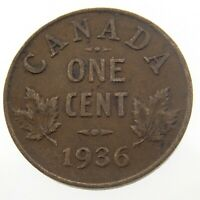 1936 Canada One 1 Cent Penny Copper Canadian Whizzed George V Coin P427