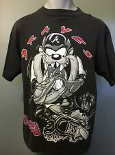 Vtg 90s Atlanta Braves Taz T-shirt Mens L Black Cotton Looney Tunes Mlb Baseball