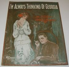 1917 Sheet Music I'm Always Thinking of Georgia Wwl Soldier Cover Art Barbelle