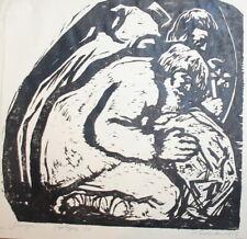 1978 Art print portrait figures woodcut signed