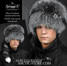 Davy Crockett men's fur hat Russian silver fox, tail detachable