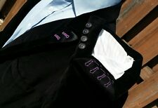 46L Black Purple Velvet Velour Peak Lapel Blazer Smoking Jacket Satin Mens XL