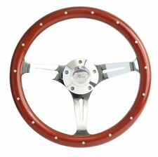 "1965 to 1991 Ford Mustang 15""  Mahogany & Chrome Steering Wheel w/Full Kit"