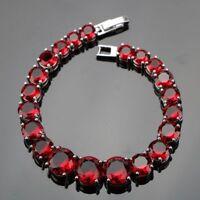 12Ct Round Cut Red Garnet Stones Link Chain Tennis Bracelet 14K White Gold Over