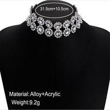 Fashion Women Jewelry Crystal Rhinestone Chunky Choker Statement Bid Necklace