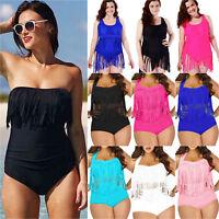 Women High Waist Bandeau Plus Size Push Up Swimsuit Bikini Padded Swimwear Beach
