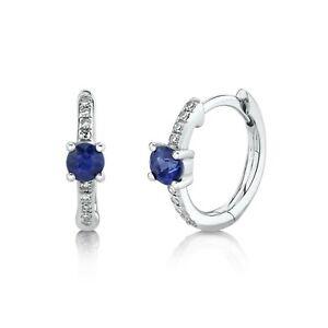 Diamond Blue Sapphire Huggie Earrings 14K White Gold Hoop 0.39TCW Natural Round