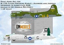 B-17G Early Numbers and Insignia Paint Mask Set 1/48 HK Models #01F001 DN Models