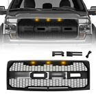 For 2009-2014 Ford F150 Raptor Style Grill W/3 Amber Lights Letters Matte Black photo