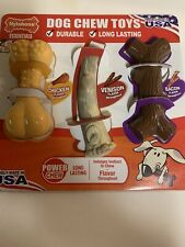 Nylabone Dog Chew 3 Pk Toy Power Chews flvrs Chicken Venison Bacon Long Lasting