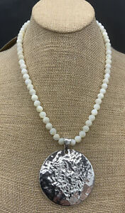 Barse Full Moon Necklace- Mother Of Pearl & Silver Overlay- New With Tags