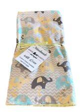 Handmade Baby Boy or Girl Blanket Gray Turquoise Yellow Minky Elephants
