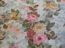 Antique Romantic Shabby Roses Cotton Fabric ~Rose Pink Aqua Olive Moss Ochre