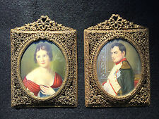 Pair Antique Miniature Portrait Paintings on Vellum Napoleon & Marie Bonaparte