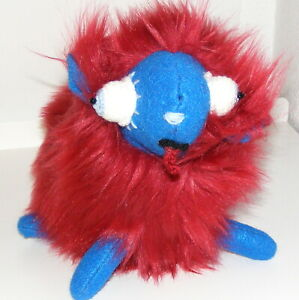 """*Little Sheep, Rust Faux Fur with a Blue Face, Handmade, 10"""", Animal, Plushie"""