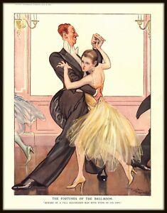"VINTAGE PUNCH CARTOON ""FORTUNES OF THE BALL-ROOM"" BALLROOM DANCING HUMOR - 1929"