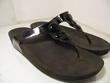 Fitflop Lunetta Black Patent Flip Flop Womens Sz 10 Thong