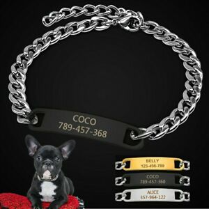 Gold Personalized Dog Collar Extra/Small Dog Engraved ID Name Tag Black Necklace