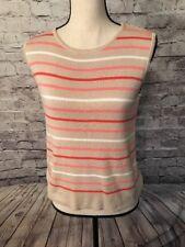 DESIGNERS ORIGINALS Cotton Sweater Vest Beige w Red, White & Pink Stripes-Sz PS