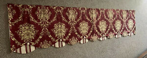 WAVERLY RED VALANCE SCALLOPED, BUTTONS, Stripes, Floral, Red/Ivory, Lined