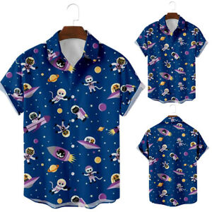 Mens Summer Beach Shirt Trendy Printed Short Sleeve Casual Holiday Buttons Tops