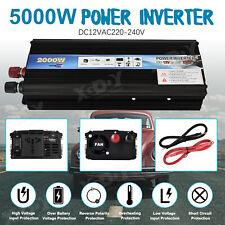 5000W Peak Converter power inverter DC 12V to AC 220V-240V invertor 2 USB Black