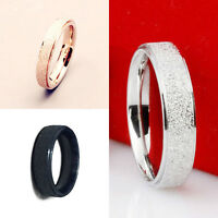Men & Women's Band Ring Gold Silver Frosted Wedding Stainless Steel Size 5-12