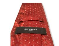 """Givenchy Men's Red/Orange 100% Silk Current Logo Tie Squares Italy 3 1/2"""" Mint"""