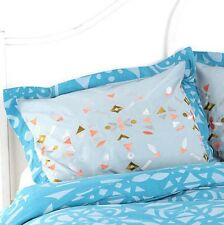 Urban Outfitter Geo Embroidered Blue Set of 2 Shams Standard Size