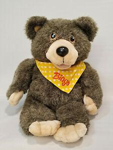 Vtg 1986 Bingo Bear Plush Hand Puppet Hasbro Softies 100% Working EUC