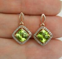 3.20 Ct Cushion Cut Peridot & Diamond Halo Dangling Earrings 14K Rose Gold Over