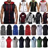 Men Sleeveless Hoodie Vest Coat Muscle Sport Gym Workout Hooded Sweater Jacket