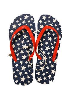4th Of July Women Beach Flip flop Size 7-8 Navy Blue Red White