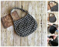 Black White Polka Dot Canvas Bag Purse Cotton Main Compartment One Zip Pocket