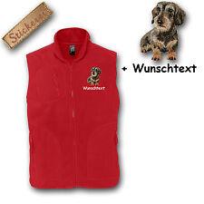 Fleece Weste Fleeceweste bestickt Stickerei Hund Dackel Rauhaardackel +Name