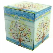 Glass Jewellery Chest of Drawers Trinket Box - Variety of Owls on Tree