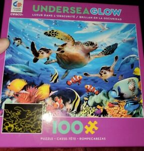 Ceaco Undersea Glow 100 Piece Kids Jigsaw Puzzle New Complete Turtles Fish USA