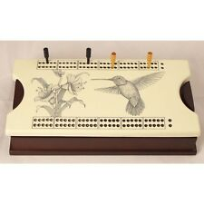 North Coast Trading Co - Hummingbird Scrimshaw Cribbage Board