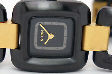 NEW NIXON A285-1036 SISI WOMENS  BLACK RAW GOLD STEEL WATCH
