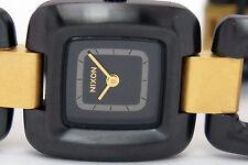 NEW NIXON A285-1036 SISI WOMENS  BLACK RAW GOLD STEEL WATCH