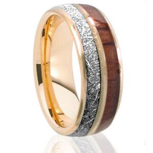 Rose Gold Tungsten Koa Wood Silver Meteorite Design Inlay Wedding Band Mens Ring