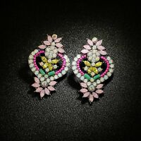 Earrings Silver Big Studs Floral Mini Pearl Pink Yellow Baroque XX29